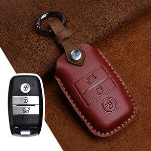 Image 5 - Genuine Leather Smart Key Case Cover For Kia KX3/KX5/K3S/RIO/Ceed/Cerato/Optima/K5/Sportage/Sorento Keychain Car Styling L72