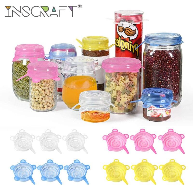 Paquet de 12 couvercles extensibles en Silicone couvercles de stockage de nourriture réutilisables pour tasses petits bols et boîtes