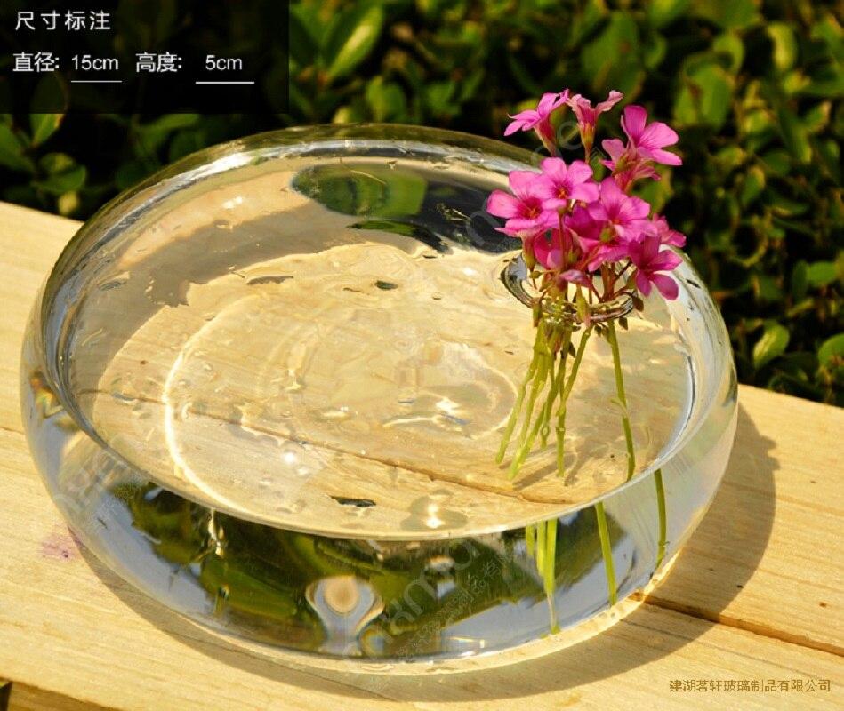 O.RoseLif Transparent flatworm Vase Decorativos Wedding Decoration Round Air Plant Terrarium Handblown decoration glass vase