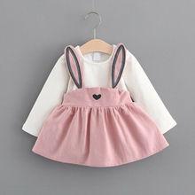 2019 New Lovely Kids Baby Girl Clothes Rabbit Dresses
