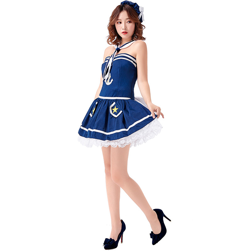 <font><b>Sexy</b></font> <font><b>Blue</b></font> Sailor <font><b>Costume</b></font> Dress <font><b>Halloween</b></font> Cosplay <font><b>For</b></font> <font><b>Women</b></font> Carnival Party Suit Dress Up image