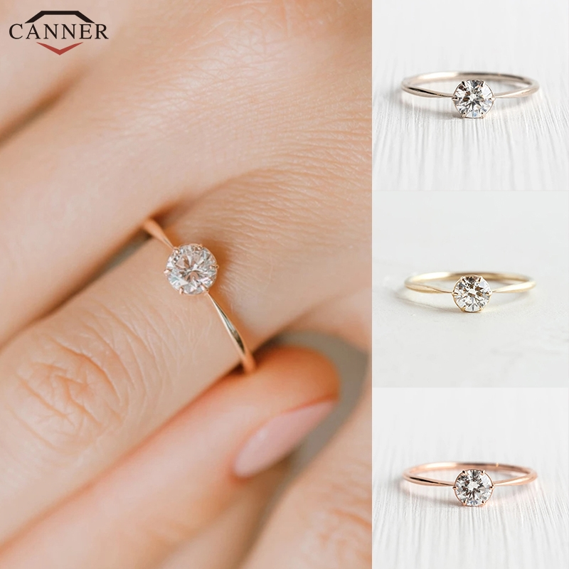 Round Zircon Engagement Wedding Rings for Women Delicate CZ Crystal Rings Gold/Silver color Dainty Thin Finger Ring Jewelry image