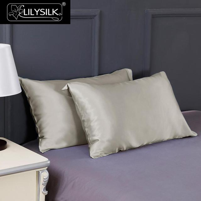 Lilysilk 100 funda de Almohada de Seda Pura Belleza Natural Chino Pelo de Lujo 19 Momme Mulberry Azul 40x60 cm Rey Reina largo 1 unidades