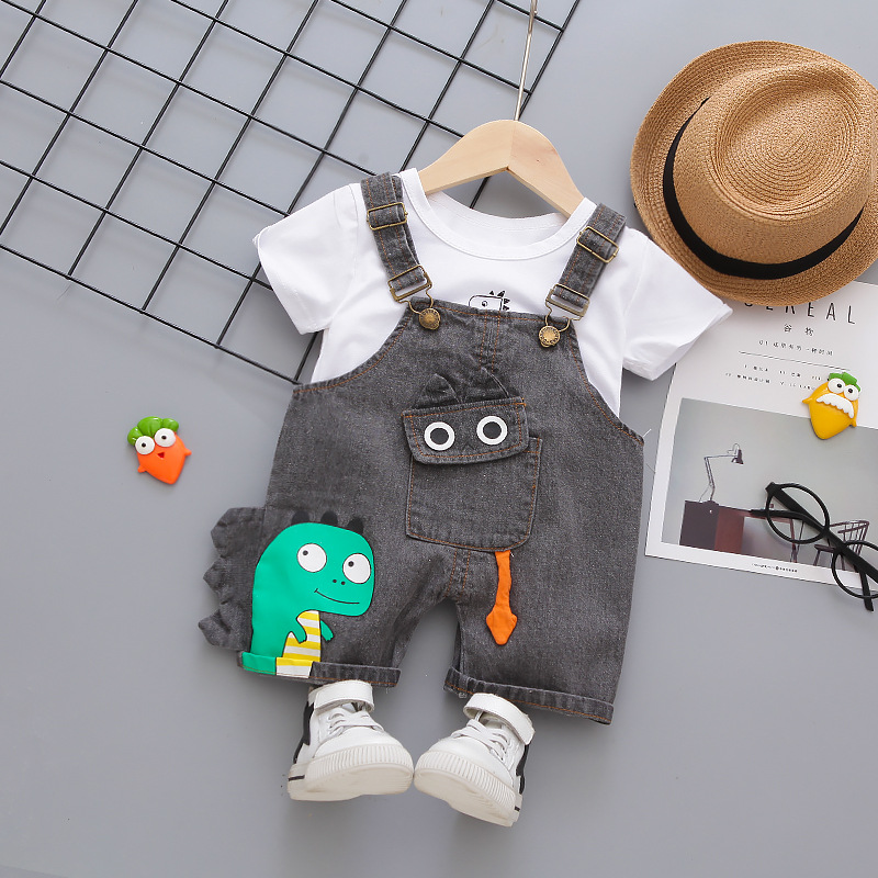 Denim Overalls Clothes Set for Baby Boys O-neck T-shirt Shorts 2 Pieces/Set New Short-sleeved Infant Children Kids Clothing 2