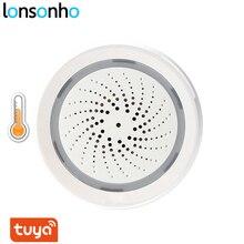 Lonsonho Tuya Intelligente Senza Fili Wifi Sirena di Allarme Smart Sirena Alarma Con Sensore di Umidità di Temperatura 3 In 1 di Vita Intelligente APP