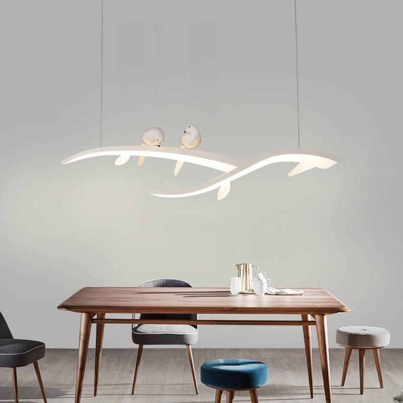 Creative Bird Led Pendant Lights White Hanging Lamp For Restaurant Dinning Room Luminaria Pendente Pendant Lamp Light Fixtures