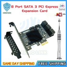 Mlc 8 porta sata 3 pci express cartão de expansão pci-e sata controlador pcie 1x para sata cartão sata3.0 6gb adaptador adicionar em cartões para hdd
