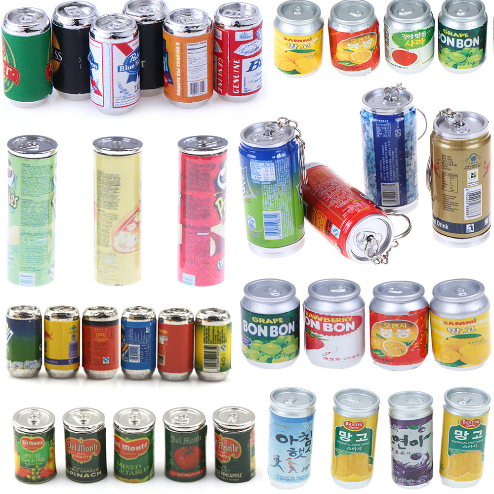 1/3/4/5P/6cs 1:12 Canned Beer Fruit/vegetables/drink Cans Dollhouse Miniature Toy Doll Food Kitchen Living Room Accessories