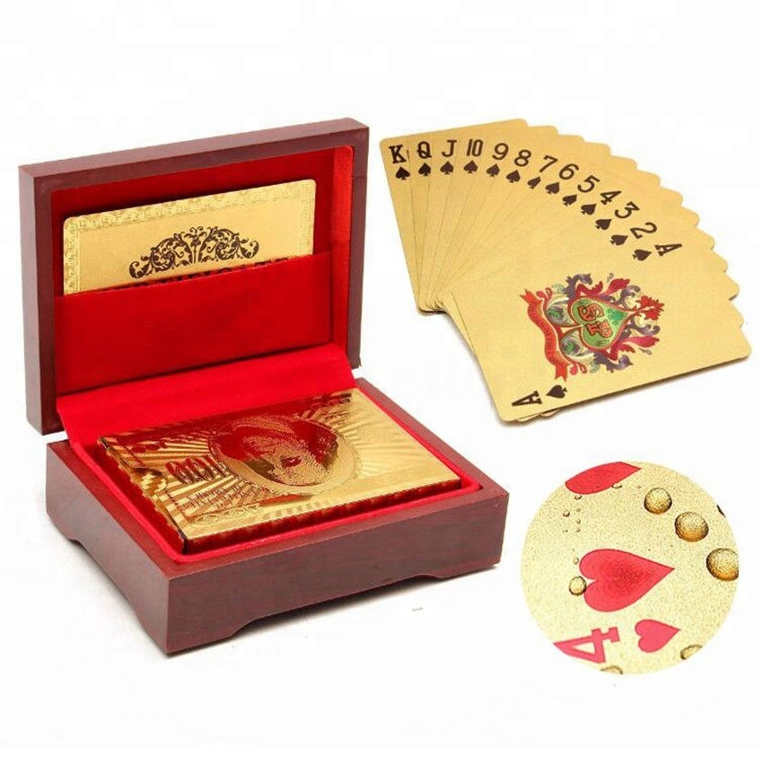24K Gold Foil Plated Baccarat Texas Hold'em Plastic Playing Cards Poker With Wood Box Case Waterproof Poker Cards Board Games