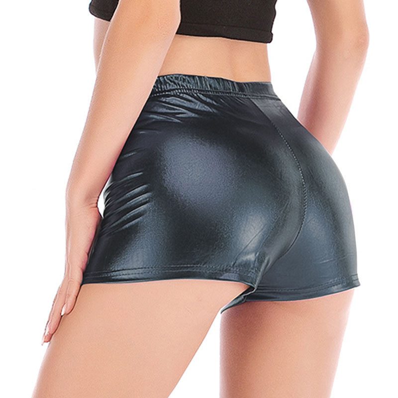 Sexy Bright Leather Women Shorts Fashion Hot Stamping Short Trousers Ladies Shorts Casual Solid Color Shorts For Pole Dance