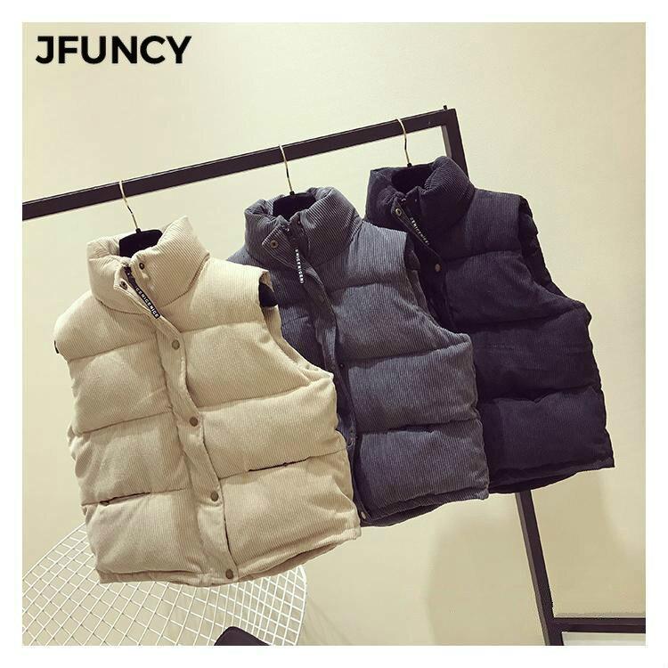 JFUNCY 2020 осень зима женский жилет без рукавов толстый теплый хлопковый жилет пальто Женская Вельветовая короткая Куртка парка верхняя одежда