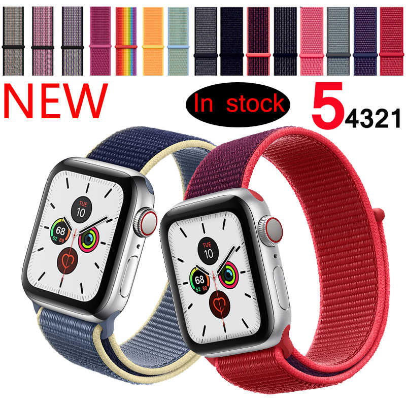 Olahraga Loop Tali untuk Apple Watch Band 42 Mm 38 Mm Correa 5 4 44 Mm 40 Mm IWatch Seri 3 2 Watchband Gelang Jam Bernapas Aksesoris