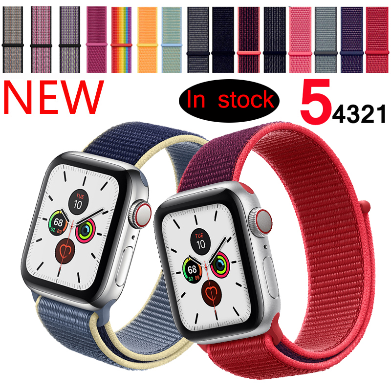 Sport Loop Strap For Apple watch band 42mm 38mm correa 5 4 44mm 40mm Iwatch series 3 2 Watchband bracelet breathable Accessories