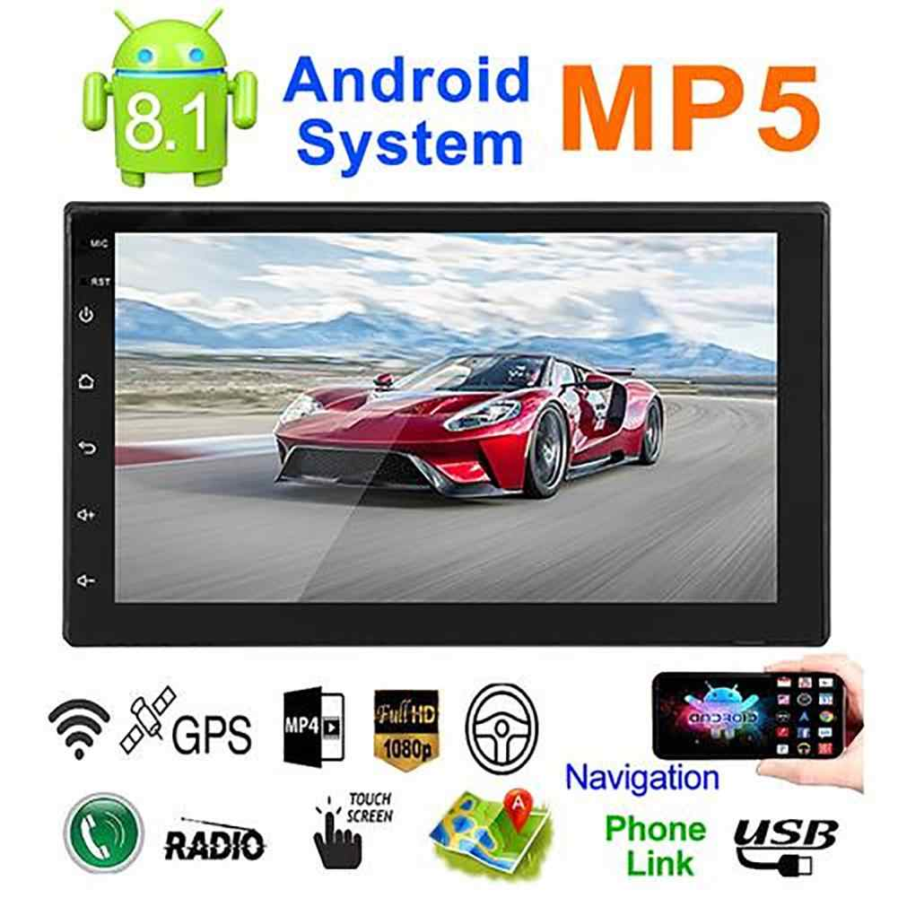 Sistem Android 8.1 16G Memory 7IN Tombol Sentuh HD Mobil Bluetooth MP5 Player Mobil 2 DIN Radio Universal GPS navigasi