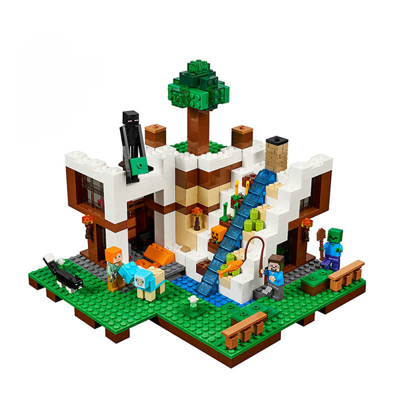 The Waterfall Base Building Blocks With Steve Action Figures Compatible Lepining MinecraftINGlys Sets Toys 21134