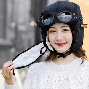 Image 5 - Adult Kids Fleece Earmuffs Hat Skiing Hat Snowboard Riding Motorcycle Men Cycling Bomber Hat with Glasses Windproof Mask