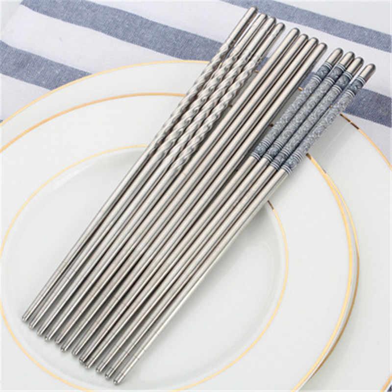 1 pares de azul e branco da porcelana rodada pauzinhos conjunto durável grau 304 tradicional Chinesa de aço inoxidável utensílios de cozinha