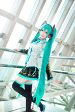 Perruques de haute qualité Cosplay perruque VOCALOID Hatsune Miku déguisement jeu de fête Halloween Anime cheveux perruque 120cm aigue-marine(China)