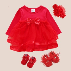 Hot Newborn Baby Dress Summer Mesh Cotton Baby Girl Clothes Summer 3pcs 2019 Shoes+Hairband Baby Girl Dresses 3 6 Months Baptism(China)