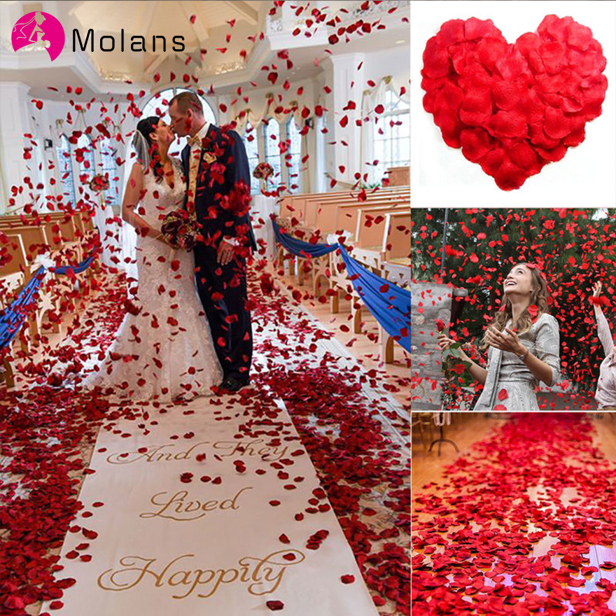 MOLANS 100pcs Artificial Silk Red Rose Petals Decorations For Bride Wedding Party Colorful Event Fake Rose Flower Manual Prop
