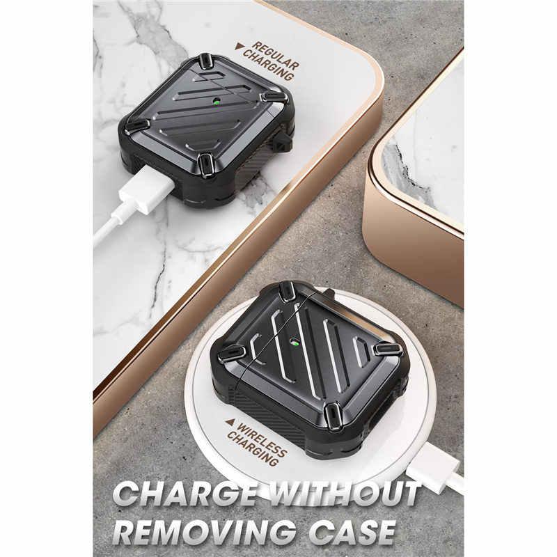 Supcase ub プロ airpods 1 & 2 のために設計、フルボディ頑丈な保護ケースカバーとカラビナ apple の airpods 1st & 2nd