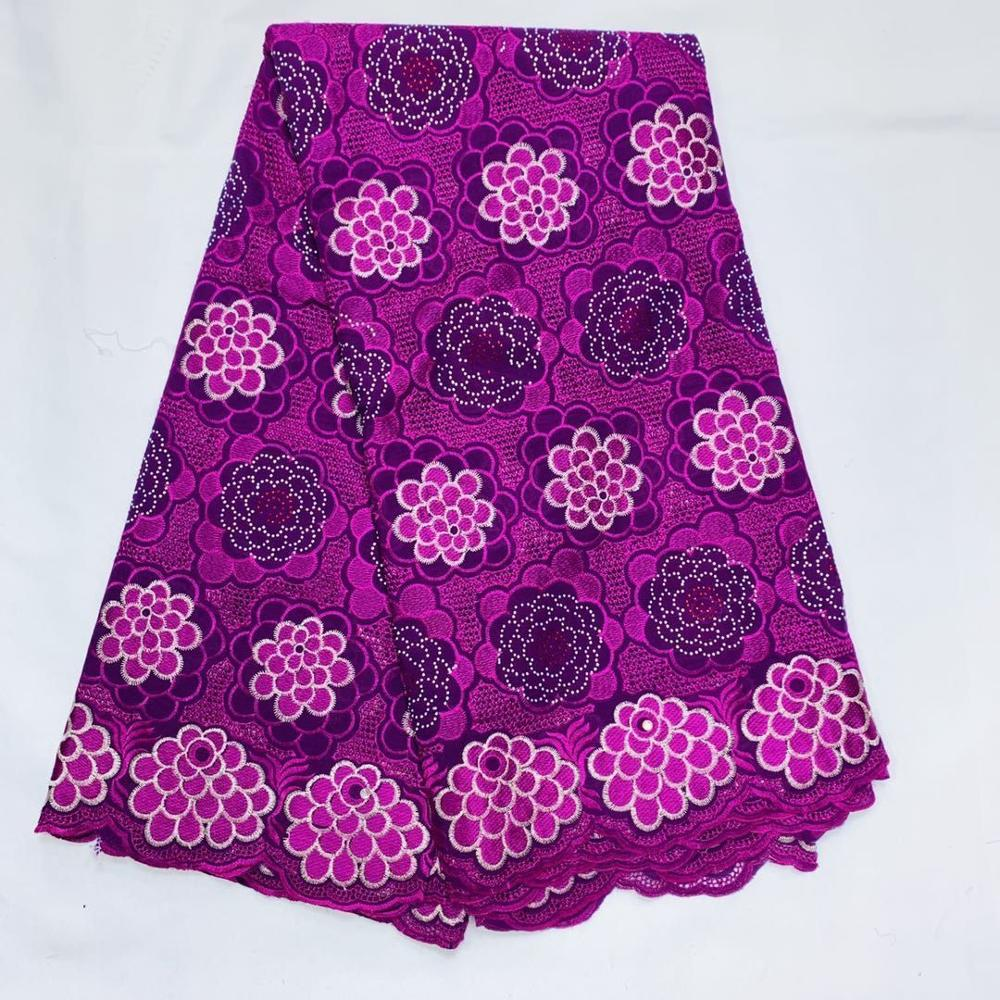 Purple African Cotton Lace Fabric 2020 High Quality Lace Tulle Cotton Embroidery Lace Fabrics With Stones Ankara Materials
