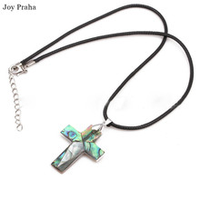 Green alloy cross necklace / Natural abalone shell pendant
