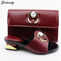 Yuternity Italian Design Fashion Pumps Shoes And Bag To Match Set Nigerian Women Slipper Shoes And Bag Set For Wedding Dress