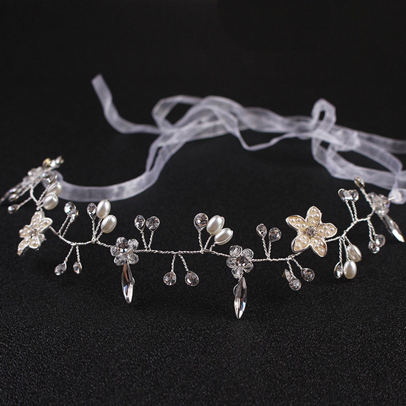 Sweet Princess Headbands Long Ribbon Crystal Flower  Hairbands Wreath Girls Headwear Kids Hair Accessories For Communion Wedding