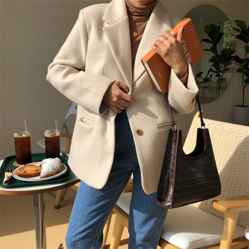 HziriP Fashion Casual Woolen Solid 2020 Full Sleeves Leisure Women Loose Cute All Match Brief Chic Office Lady Blazers 2 Types