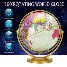 20cm Retro Globe 360 Rotating Earth World Ocean Map Ball Antique Desktop Geography Learning Education Home School Decoration