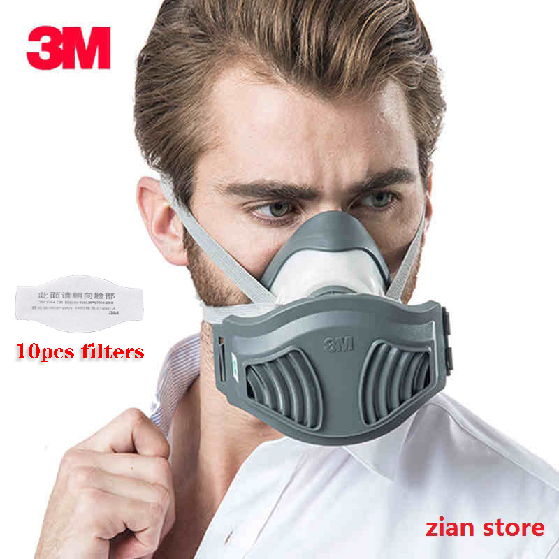 3M 1711 Dust Mask With 1701/1705 Filters Anti-PM2.5 Industrial Construction Pollen Haze Poison Family Professional Site Mask Set
