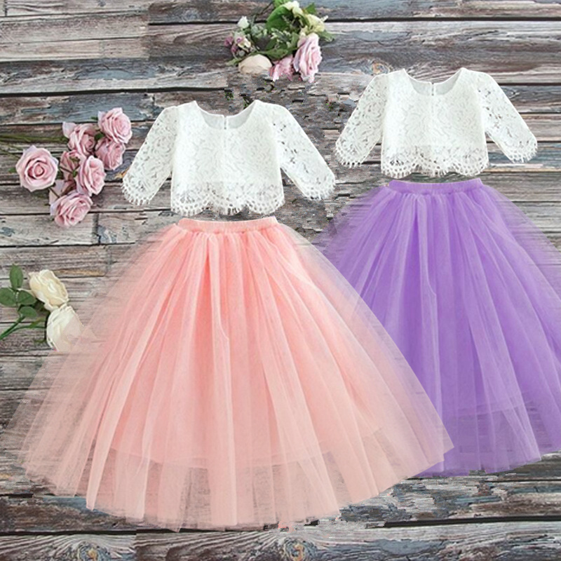 Spring Girls Clothing Elegant Lace Wedding Dress Flower Girls Dress Princess Party Pageant Tulle Gown Kid Girls Clothes 3-8Years
