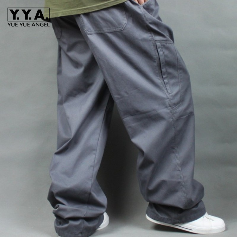 Big Size Men Hip Hop Loose Cargo Pants Cotton Baggy Sweatpants Army Trousers Wide Leg Military Tactical Pants Casual Streetwear