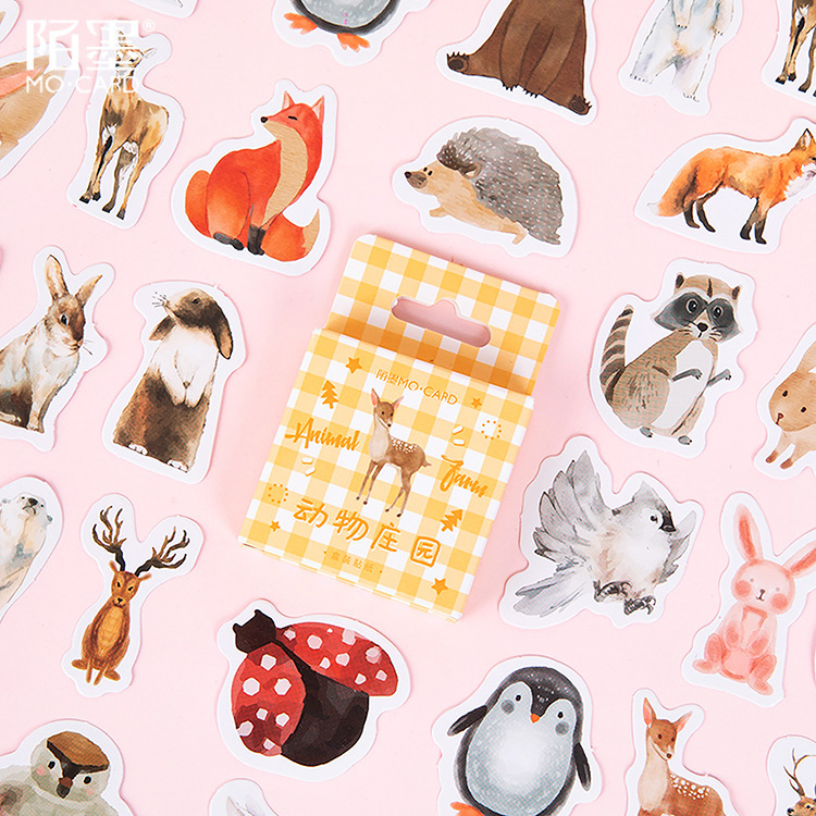 46 Pcs Cute Animal Farm Kawaii Boxed Decoration Penguin Stickers Planner Scrapbooking Stationery Japanese Diary Stickers