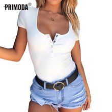 Women Short Sleeve Bodysuits Basic Solid Button Down Knitted Bodysuits