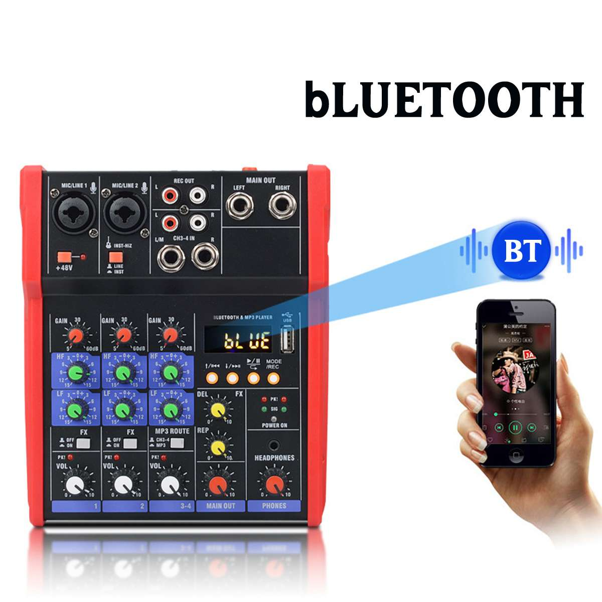 Professional 4 Channel Audio bluetooth Mixer USB Console Sound Card Karaoke KTV Stereo Mixing Stage Live Studio Music Mixer DJ