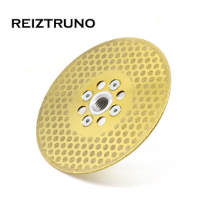 """Image 5 - REIZTRUNO 5"""" Double Sided Marble Diamond Blade with Quad Adapter Electroplated continuous Turbo Blade for cutting shaping marble"""