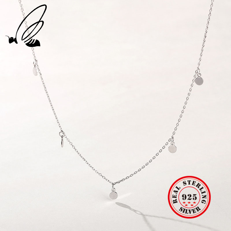 Colares pingentes 925 prata esterlina doce círculo corrente mulher boho delicado colar largo colar feminino acessórios joyas