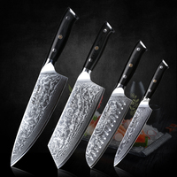 TURWHO Damascus Kitchen Knife Set 4PCS Super Sharp Vegetable Cleaver Santoku Utility Chef Knife Sets Pro Kitchen Cooking knives 1