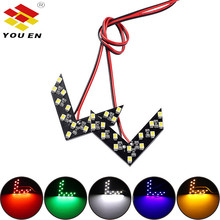 YOUEN 14 SMD LED Arrow Panel For Car Rear View Mirror Indicator Turn Signal Light Car LED Rearview Mirror Light 2pcs 5colors turn signal rear mirror arrow panel 14 smd led car auto indicator parking lamp for mitsubishi montero sport