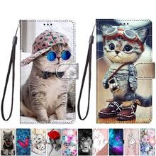 קריקטורה חתול כיסוי עבור Xiaomi Mi 10 לייט 5G 10 פרו CC9E 6X A3 A2 לייט Y1 עור מפוצל רצועה stand טלפון מגן כיסוי מקרה Coque