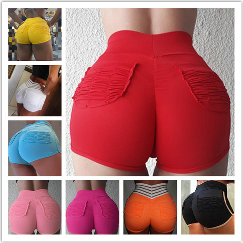 Fashion Women Shorts For Streetwear Shrinkage Design Elastic High Waist Solid Color Shorts Lady Summer Casual Elasticity Shorts