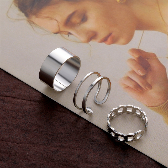 Punk Metal Geometric Round Ring Set Silver Color Open Rings for Women Fashion Finger Accessories Buckle Joint Tail Ring Jewelry 3
