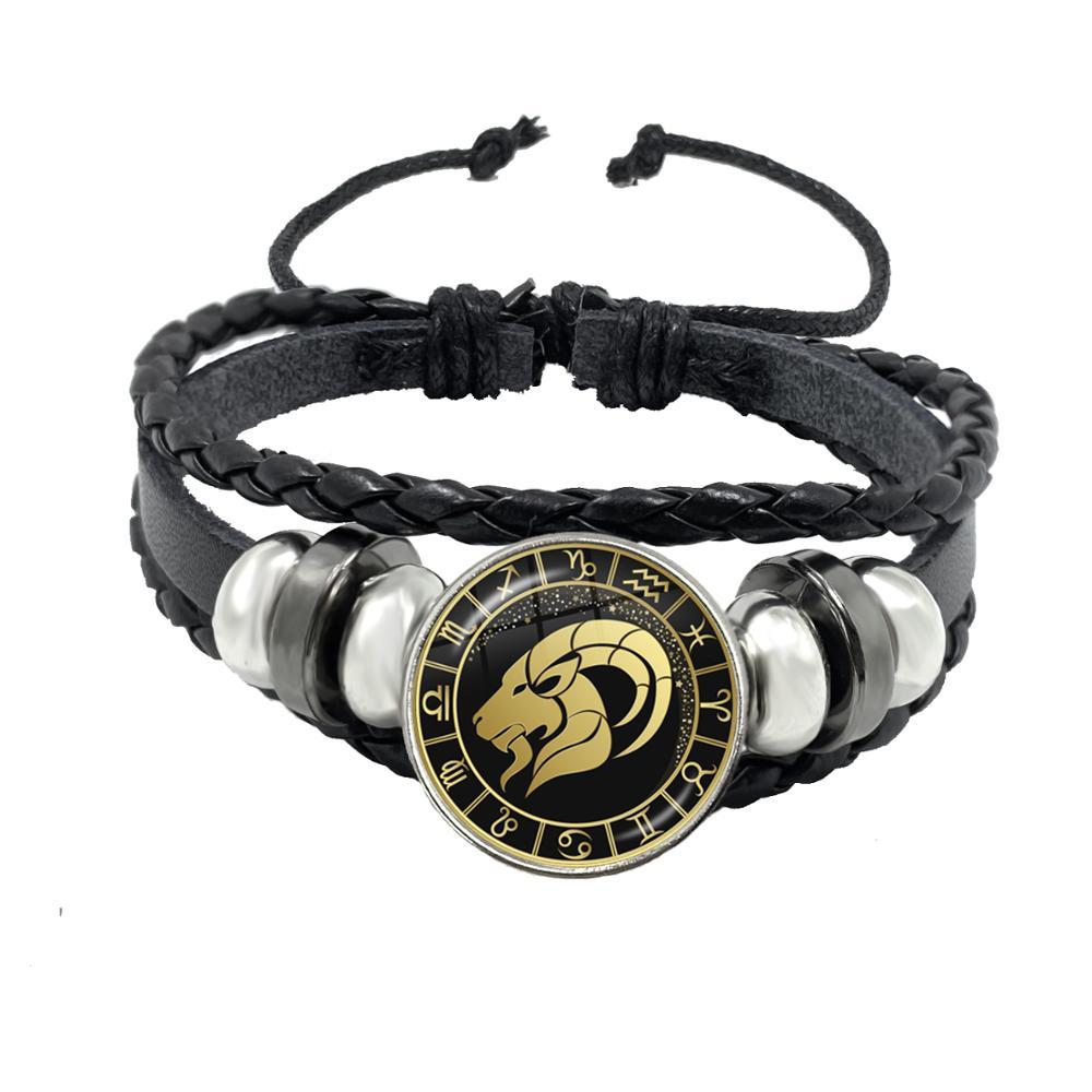 12 Constellation Bracelet Scorpio Sagittarius Capricorn Aquarius Black Rope Leather Button Bracelet Zodiac Jewelry For Gift