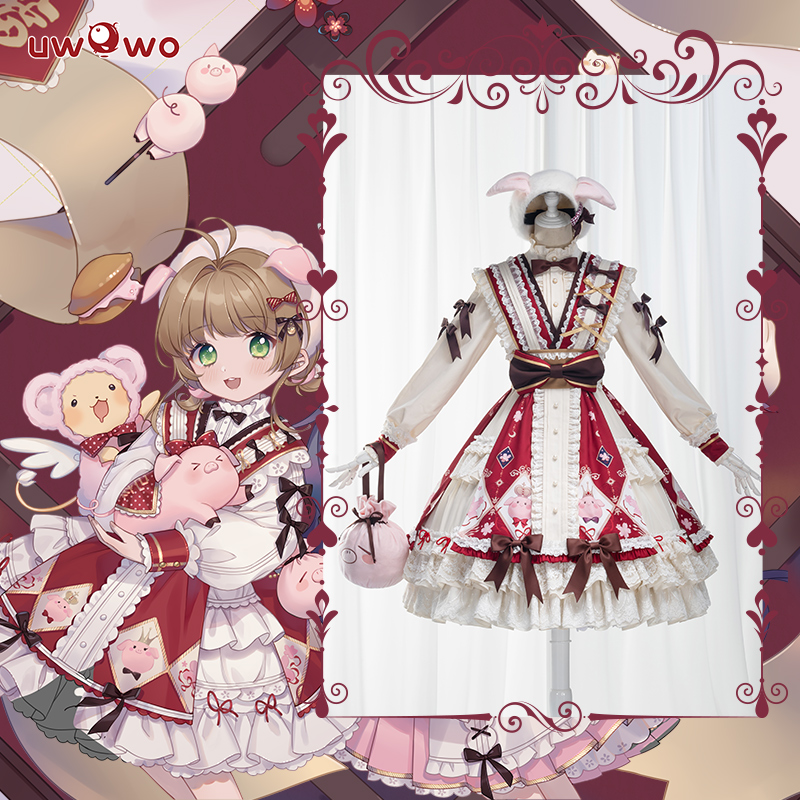 UWOWO Anime Sakura Card Captor Fanart Ver. Lolita Kinomoto Sakura Pig Doujin Cosplay Costume Girls Kawaii Dress JSK
