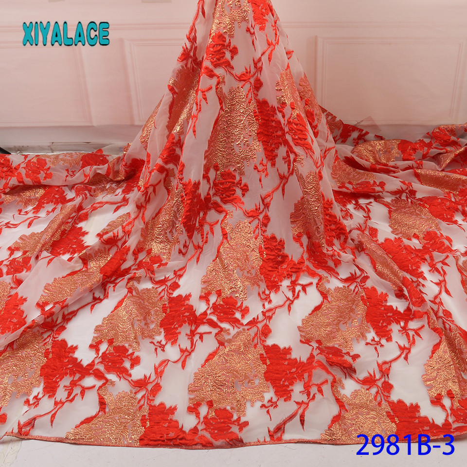 Red Nigerian Lace Fabric 2019 High Quality Lace Brocade Lace Fabric African French Tulle Mesh Lace Fabric For Party YA2981B-3