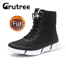 Fashion Winter High Top Snow Fur Plush Warm Boots Men Waterproof Casual Rubber Work Safety Plus Size 46