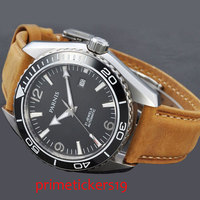 White marks 45mm Parnis black dial sapphire glass ceramic bezel automatic mens watch 289