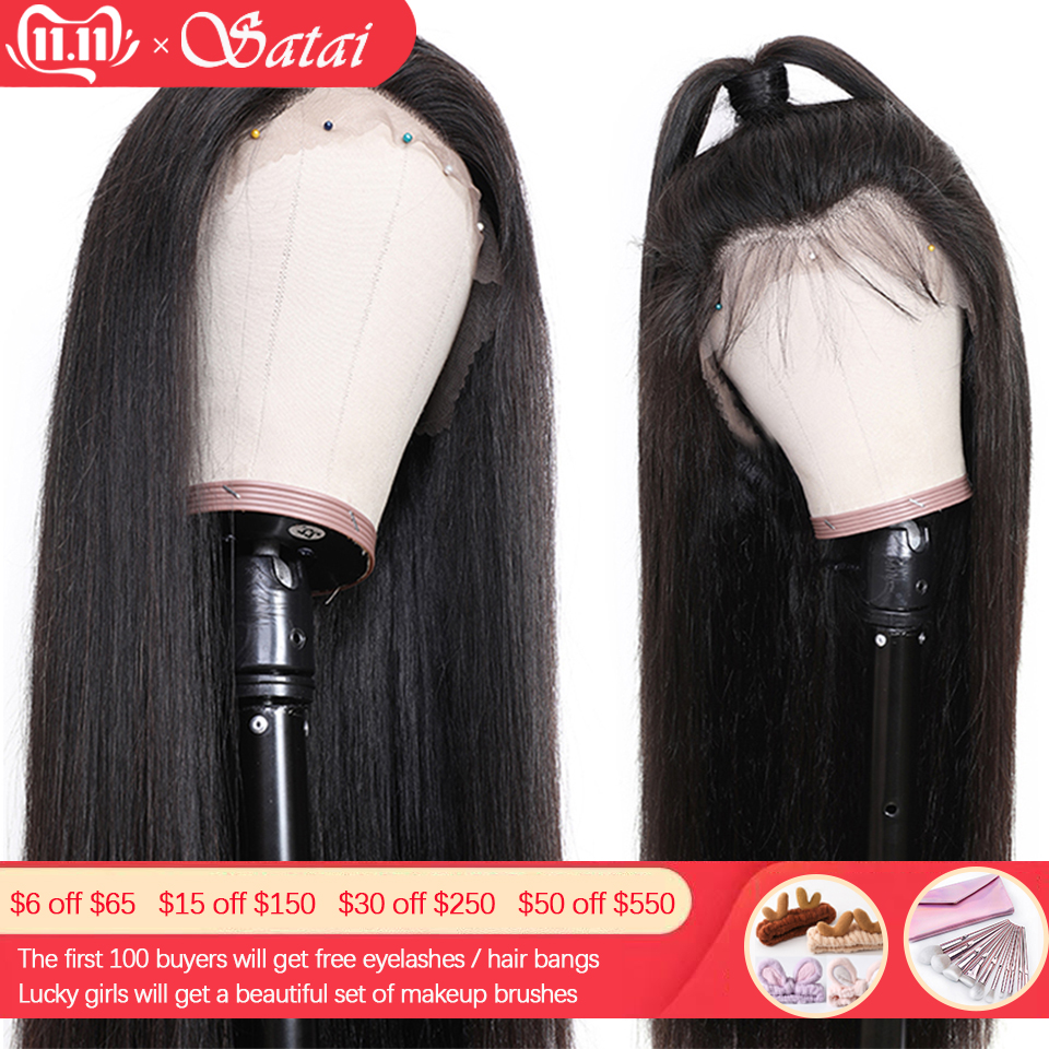 Satai Glueless Lace Front Human Hair Wigs Pre Plucked 13x4 Lace Front Wig  Remy Hair Brazilian Straight Lace Wig With Baby Hair